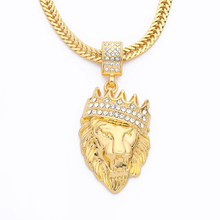 New Color Gold color Alloy 78cm Chain Men Lion Head Pendant Inlay Rhinestone Necklace HipHop Lion King Crown Franco Chain
