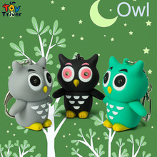 Wholesale Led Flashlight Luminous Sound Light Owl Figure Toy Owls Bag Car Pendant Key Chain Birthday Party Gift Triver