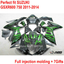 For Suzuki fairing kit GSXR 600 GSXR750 11 12 13 14 green flames black fairings set GSXR600 750 2011- 2014  injection molding