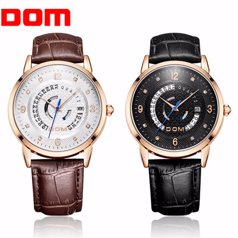 DOM Fashionable Men Wrist Watch Waterproof Luxury Male PU Leather Quartz Wrist Watches For Party Casual Days Wearing<br>