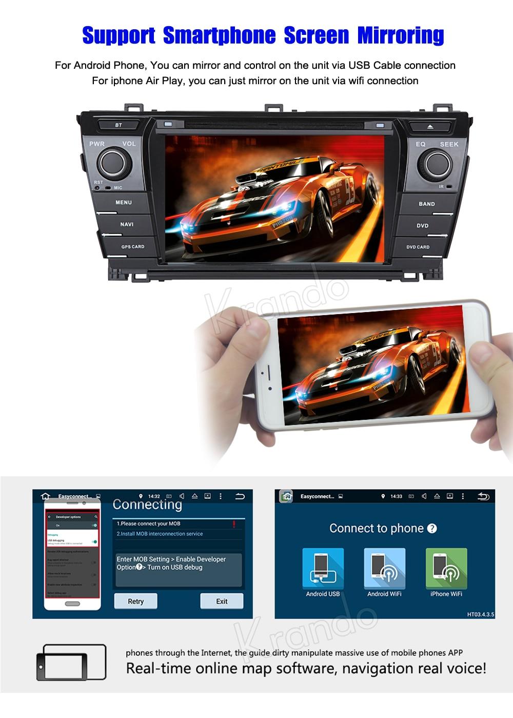 Krando toyota corolla Android car radio gps navigation multimedia system (4)