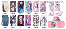 Leopard Flower Sky Skull Pattern Paitning PU Leather Cover For Samsung Galaxy S4 S5 Note5 Phone Case With Hand Strap