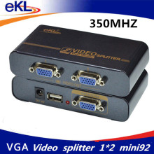 EKL 350MHZ VGA Splitter 2 ports VGA video splitter 1x2 Input 2 Output Support USB Power Adaptor MINI Size(China)