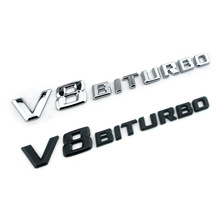 3D ABS Car Sticker V8 BITURBO Logo Emblem Badge Auto Rear Side Car-styling Sticker for Benz BMW VW Hyundai Mazda Chevrolet Skoda