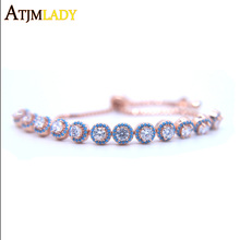 2017 new gold color Hot Selling Women Tennis Bracelet Luxury Round Clear CZ Tennis Bracelets & Bangles for Elegant Party Jewelry
