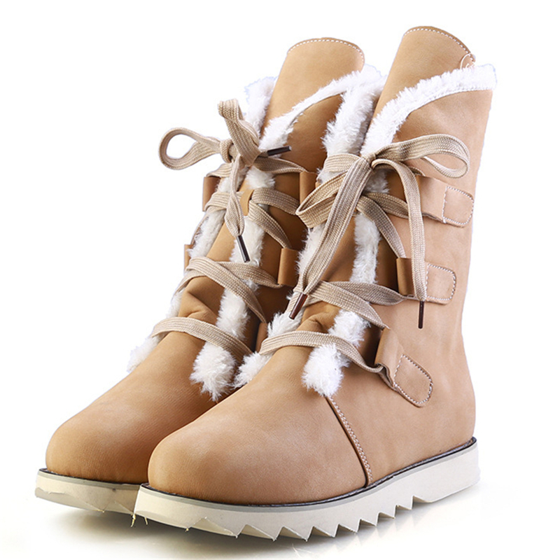 Fashion Womens Snow Boots Shoes With Plush Warm Girls Mid-Calf Shoes Winter 2016 High Quality Lace Up New Arrival<br><br>Aliexpress