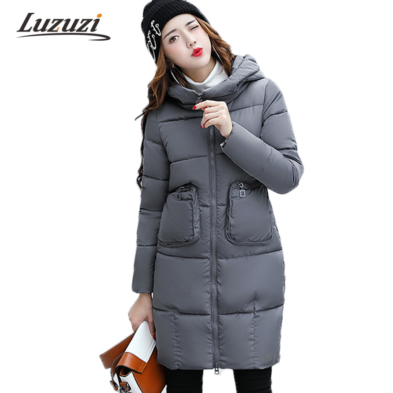 2017 Winter Jackets Women Winter Coats Female Long Hood Solid Down Parkas Girls Student Overcoat casacos invierno feminino W1242Îäåæäà è àêñåññóàðû<br><br>