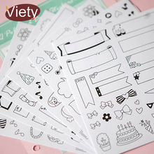 6 sheets/lot calendar paper sticker DIY scrapbooking diary sticker post it kawaii stationery toy for kids