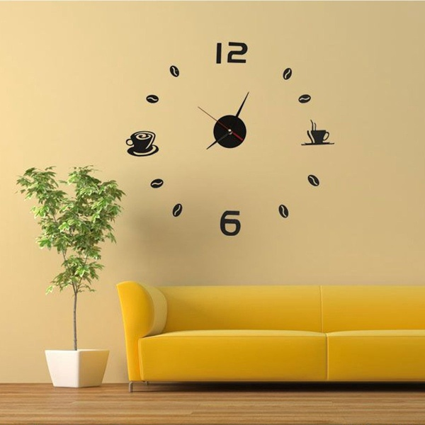 SZS Hot Coffee Tea Cup 3D Wall Clock Quartz Battery Room Home Kitchen Cafe Decoration black red(China)