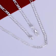 Top Quality 16''-24'' 40-60cm Long 4mm Men's Necklace 925 stamped silver plated Figaro chains Necklace gift bags free wholes X87