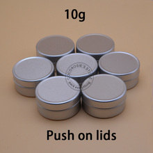 (50pieces/lot)10g Empty Aluminum Jar Silver Cosmetic Container tin Refillable Aluminum cases for lip balm