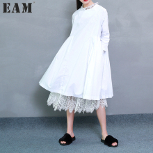 [EAM] 2017 Spring Fashion Trend New Korean Distribution Lace Hem Solid Cotton Long Sleeve Dress Woman Y13100