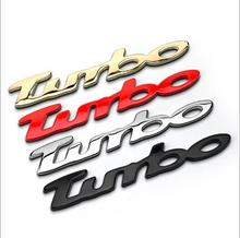 free shipping 1pcs TURBO CAR emblem EFFECT BADGE LOGO STICK ON EMBLEM 3D LOOK SELF ADHESIVE(China)