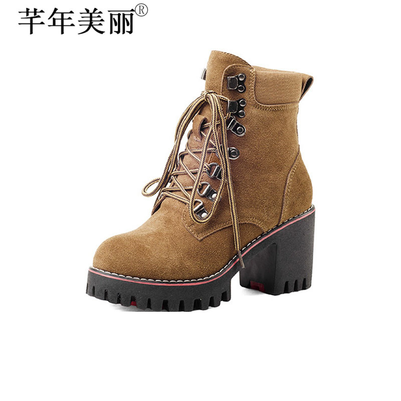Womens Boots Cow Suede Ankle Shoes Faux Fur Lining Shoes Brown Black Shoes Classic Martin Boots Lace up Plus Size 33-43 WB013<br>
