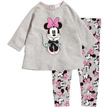 2016 Casual Girls Pajamas Set Little Girls Long Sleeve Pyjamas Children Clothing Cartoon Minnie Girls Suits Baby Sleepwear New