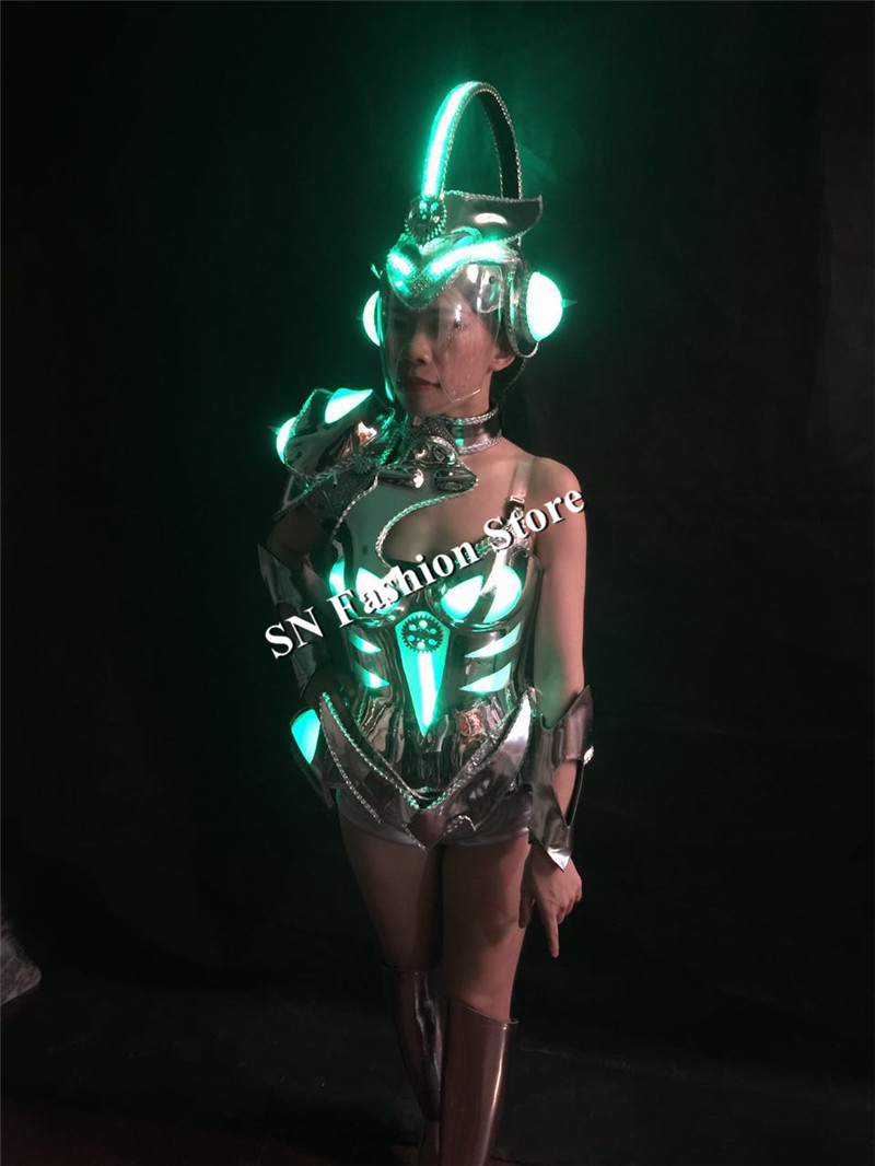 BS03 Sexy singer luminous wears clothes cosplay disco stage car models performance led costume ballroom dance dresses party dj
