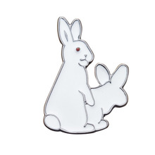 1pcs Cartoon White Rabbits Brooch 3.4cm*2.2cm Pins Animal Brooch Jacket Pin Funny Gift Good Price Accessories
