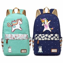 cute unicorn Dab cartoon Backpack For Women Girls Canvas bag Flowers wave point Rucksacks backpack travel Shoulder Bag narwhal