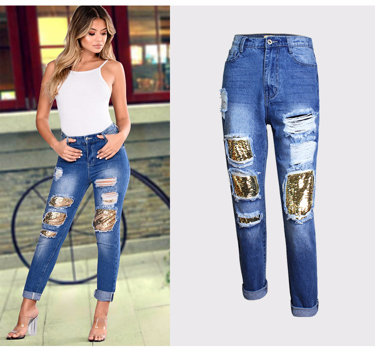 2018 Casual European Station Europe and the United States Style BF Wind Women Sequin Straight Hole Large jeans New Loose pants (3)