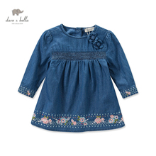 DB3661 dave bella autumn fall baby girl embroidery princess dress baby denim dress kids birthday clothes dress children costumes