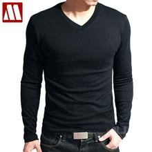 Hot Sale New spring high-elastic cotton t-shirts men's long sleeve v neck tight t shirt free CHINA POST shipping Asia S-XXXXXL(China)