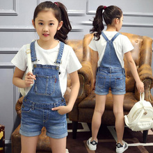 GB-Kcool Fashion 2017 New Big Girls Jeans Overalls Summer Fashion Children Cowboy Strap Shorts Denim Jumpsuit Kids Overalls(China)