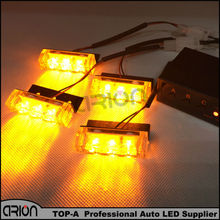 Car Truck LED Bright Flashing Blink Grill Lamp Strobe Lights Amber Yellow Free shipping 4*3 LED