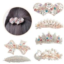 Fashion Women Elegant Crystal Twinkling Hair Clip Heart Bow Butterfly Hairpin Barrettes Hair Accessories prendedor de cabelo Y1(China)