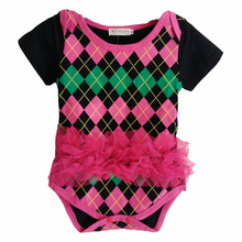 Newborn Infant Rompers Summer Plaid Style Toddler Clothing Pink Laces Kid Costume Party Popular Baby Girls Jumpsuit Romper(China)