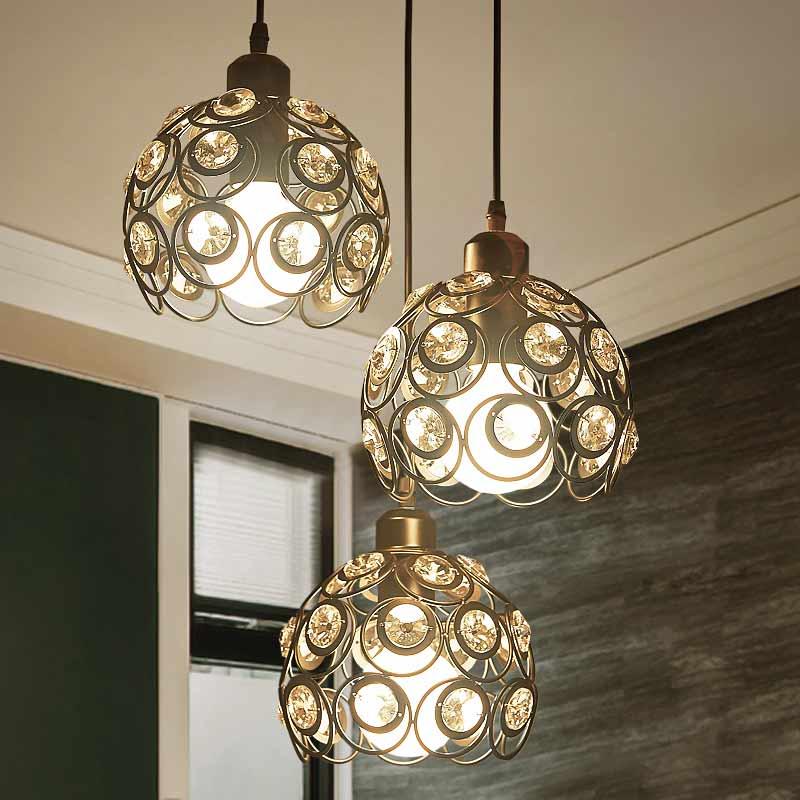 Crystal E27 Lamp Modern Pendant Lights Dining Room Kitchen Restaurant Decor Black/White Iron Home Lighting Fixtures 110-220V<br>