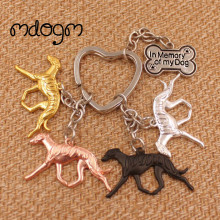 2017 Cute Whippet Dog Animal Gold Silver Plated Metal Pendant Keychain For Bag Car Women Men Girls Boys Funny Jewelry K064(China)