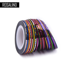 ROSALIND 30Pcs 30 Multicolor Mixed Colors Rolls Striping Tape Line Nail Art Decoration Sticker DIY Nail Tips Glitter Nail(China)