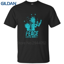 Breathable men ali shirt Peace Among Worlds rick and morty mr meeseeks Cartoon Punk tee shirt round Neck