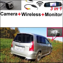 3 in1 Special Rear View Camera + Wireless Receiver + Mirror Monitor Easy DIY Parking System For Mazda Premacy MK1 1999~2009