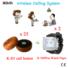 Restaurant Wireless Ordering System Waiter Server Paging 2 Watches Receiver + 25 Table Button By DHL/EMS Free Shipping