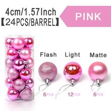 ZUCZUG 24PCS Pink 4cm Event & Party Supplies Christmas Ball Barrels Color Ball Plastic Light Plated Ball Decorations