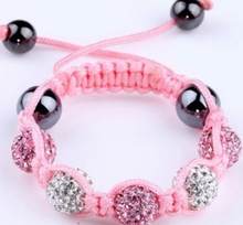 10mm pink Crystal Shamballa Bracelet Jewelry Bangles rhinestone lot wholesale charms micro pave disco bead kids size n2424