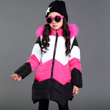 2017 Fashion Down Jacket for girl clothing brand kids clothes warm winter outerwear jacket children's wear 2 color 3-12 years