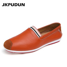 JKPUDUN Designer Italian Shoes Men Casual Mens Loafers Genuine Leather Moccasins Luxury Brand Breathable Flat Driving Shoes Skor(China)