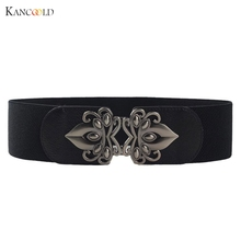 Fashion Women Belt Faux Lether Wide Waist Elastic Stretch Belt Waistband for Women Au9D(China)