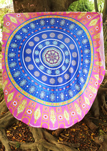 Beach Holiday Travel Gym Pool Round Beach Towel Cover Ups Print Tribal Round Blanket Towel Beach Wear