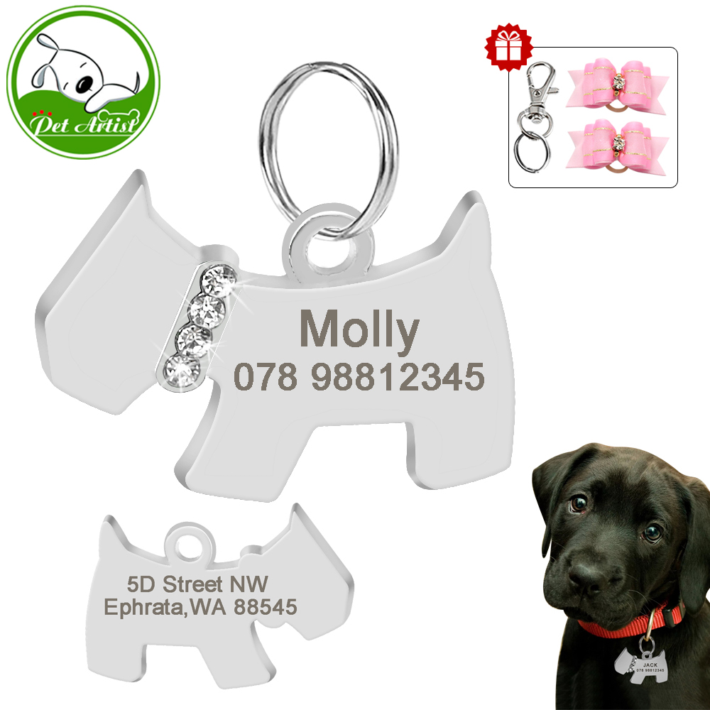 Personalized Dog Tags Bone Shape Engraved Cat Name Tags 2pcs FREE Dog Hair Bows