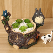 Creative Totoro Garden Mini Ceramic Terracotta Bonsai Clay Flower Pot Stand Terracotta Nursery Succulent Planters Pot Decorative