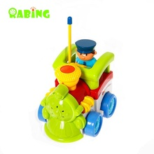 RC Car Rabing Cartoon Car Train with Action Figure Radio Control Car Electric Train Toy for Babies RC Car(China)