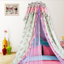 Princess Palace Hung Dome Mosquito Net Double Bed Canopy Cotton Circular Curtains For Girls Bedding Set Netting Tent Mosquiteiro