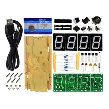 Free Shipping 4-digit Digital LED Clock Kit Light Control Temperature Display LED Digital Clock DIY Kit with Transparent Case