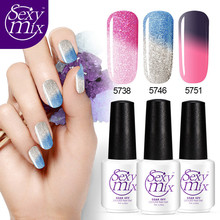 Sexy Mix 3 Pieces Hot Pink Blue Temperature Color Changing UV Gel Nail Polish Professional Two Weeks Long Lasting UV Gel Polish