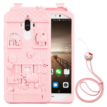 For HUAWEI Mate 9 5.9 inch 3D Cute Cartoon Fabitoo Hello Kitty Phone Case Soft Silicone Back Cover With Lanyard