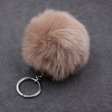 Cute Pompom Colorful Fluffy Ball Keychain Fake Rabbit Fur Key Chain Car Bag Pendant Key Ring Lovely Women Fashion Jewelry