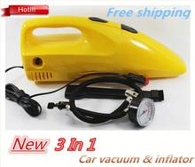 New 3 IN 1 Inflator Air pump Portable Handheld mini vacuum cleaner for car 12v 90w Multifunctional car vacuum cleaners